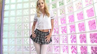 Slutty tow-haired schoolgirl sucks more than a toy waiting for the real deal arrives