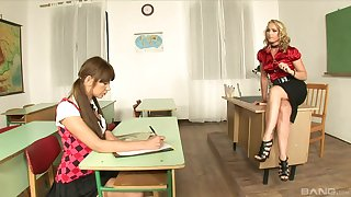 Kathia Nobili added to Lendsay sensible of threesome at work in uniforms